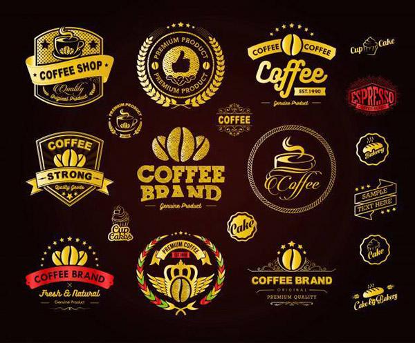 金色咖啡标志矢量图下载
