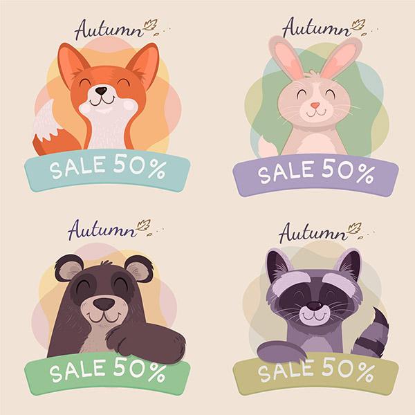 手绘卡通动物促销标签矢量模板
