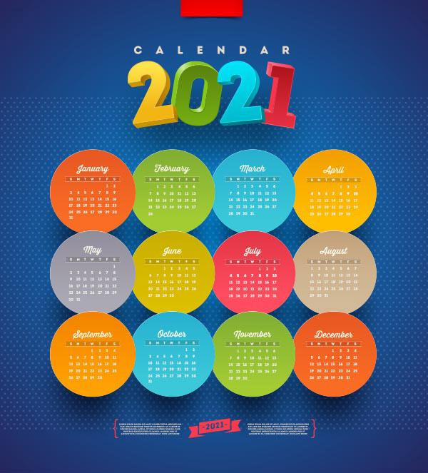 2021新年日历矢量图下载