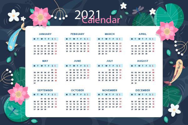 2021荷花装饰日历矢量下载