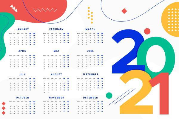 2021新年日历矢量图片