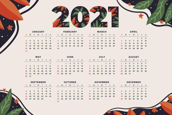 2021日历模板矢量模板