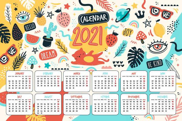 2021新年潮流日历矢量下载