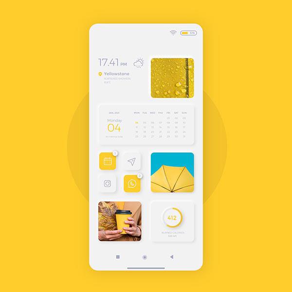 亮色手机UI模板矢量图片