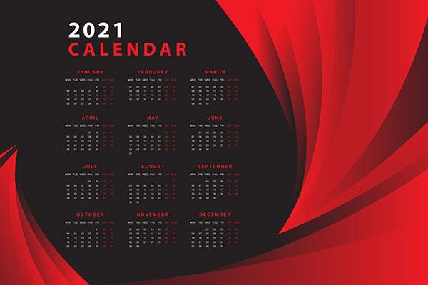 2021日历模板矢量下载
