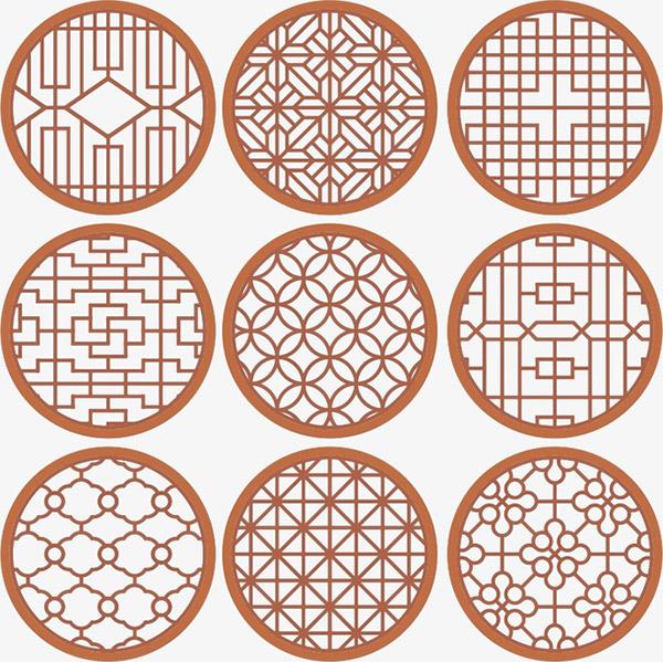 中式花纹圆形窗花格矢量图