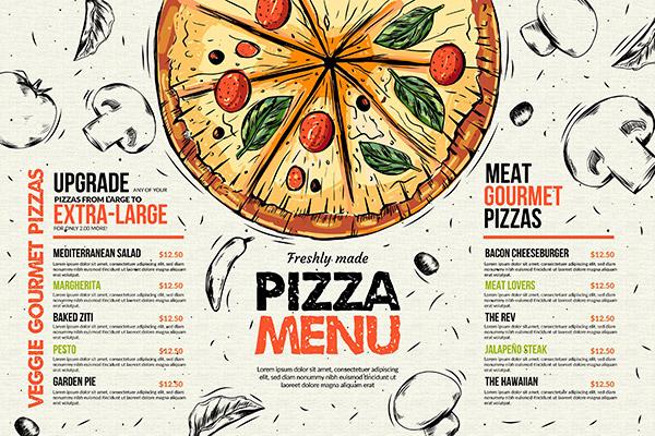 比萨餐厅菜单模板矢量素材