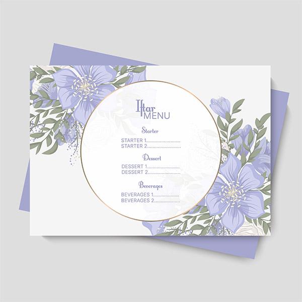紫色小清新菜单矢量素材下载