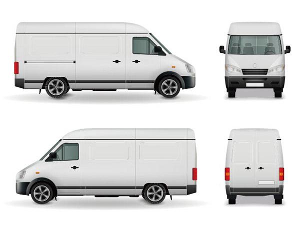 白色货车矢量素材下载