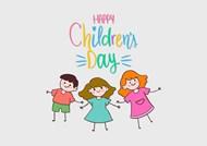 儿童节快乐手绘儿童矢量素材