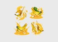 飞溅香蕉矢量素材