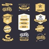 摩托车复古标签矢量图下载