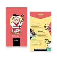 垂直寿司菜单模板矢量图下载