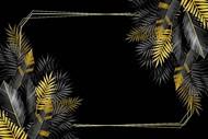 金色叶子花边相框矢量图下载