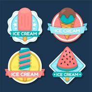 冰淇淋平面标签矢量下载
