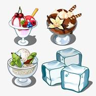 美味凉爽冰淇淋冰块矢量素材下载