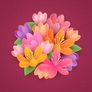 紙樣式花朵矢量圖