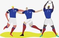 足球运动员团队矢量图