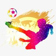 炫彩足球运动剪影矢量图片