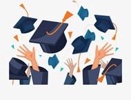 毕业季狂欢扔帽子矢量模板