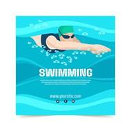 游泳运动海报矢量图