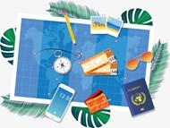 旅游主题元素矢量图下载