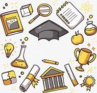 黄色系卡通教育元素矢量图片