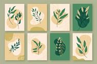 手繪植物封面矢量模板