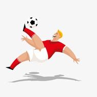 踢足球的运动员矢量图片