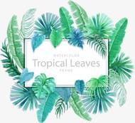 手绘绿色植物装饰边框矢量图