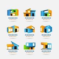 立体几何元素房子标志矢量素材下载