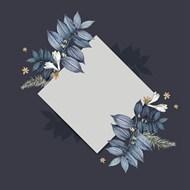 蓝色花朵方形卡片框架矢量图片