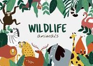 扁平风卡通野生动物矢量图