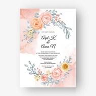 花卉婚礼邀请函矢量素材