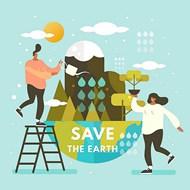 卡通人物环保地球矢量图片