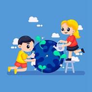环保爱护地球卡通人物矢量素材下载