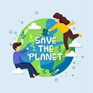 地球卡通人类保护矢量下载