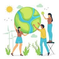 爱护地球卡通人物矢量模板