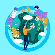爱护地球植物环保矢量模板