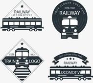 黑色火车标志矢量下载