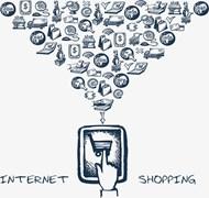 手绘风网络购物海报矢量图下载