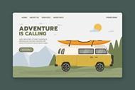 旅行主题网页登录界面矢量图片