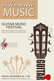 吉他音乐节海报4矢量模板
