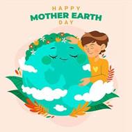 地球母亲关爱卡通男孩矢量模板