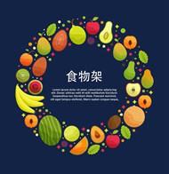 美味水果圆环矢量模板
