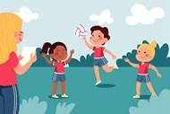 儿童体育课手绘插图矢量素材下载