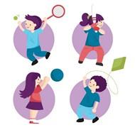 卡通运动儿童矢量图片