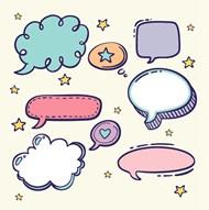 语音气泡卡通对话框矢量素材