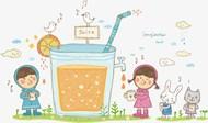 喝果汁卡通矢量模板