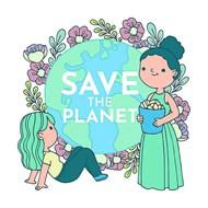 卡通女孩关爱地球环保矢量图片